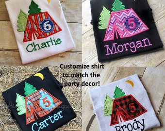 Camping birthday shirt. Tent birthday shirt. Customize it! Sizes 12m to youth large. Many colors options available.