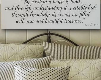 By Wisdom A House Is Built, Distressed Wood Sign, Inspirational Wall Art, Bible Home Decor, Fixer Upper Style Sign, Fixer Upper Style Decor