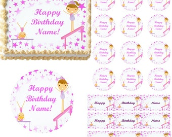 Design your own edible cake topper image do it yourself cake gymnastics tumbling edible cake topper image gymnast girls cake gymnast girls cupcakes gymnastics party supplies tumbling girls stars solutioingenieria Images