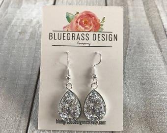 Teardrop Druzy Dangle Earrings / Bridesmaid Jewelry / Wedding Jewelry / Bridesmaid Gift