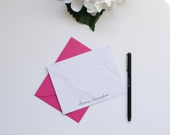 Personalized Stationery, Marble Stationery, Monogram Stationery, Custom Stationery, Flat Notecards