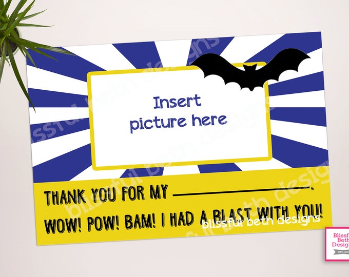PERSONALIZED BATMAN THANKS Batman Thank You Card, Printable Batman Thank You Card, Printable Batman Thank You Note, Batman Thank You