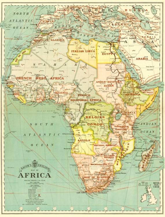 Africa map printVintage Africa map printable digital