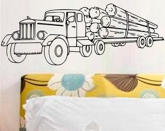 """Wall sticker """"Truck loaded wood"""""""