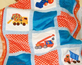 "Baby Truck Personalized Baby Blanket Appliqued "" Construction Trucks"""