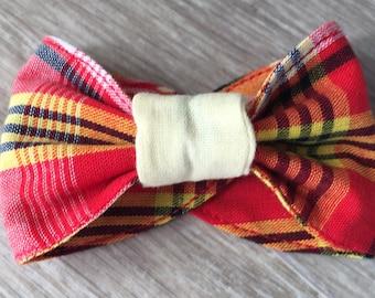 Red madras bow Cuff Bracelet
