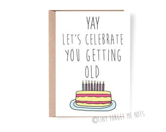 Getting old card etsy funny birthday card funny birthday card for boyfriend funny birthday card for her bookmarktalkfo Image collections