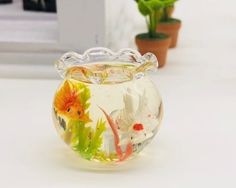 Miniature Golden Fish in glass bottle decorate Water plants look beautiful and realistic for dollhouse