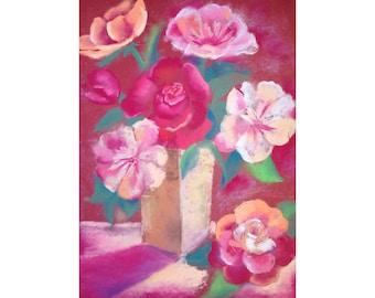 Garden art|for|her Canvas art Flower wall art Kitchen living room decor Flower home decor Original art gift Rustic kitchen décor Burgundy