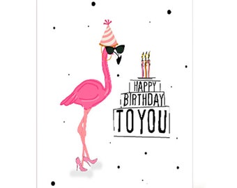 Happy Birthday Flamingo digital card,  Digital greeting card, happy birthday, girly flamingo, heels, party hat, sunglasses, funny