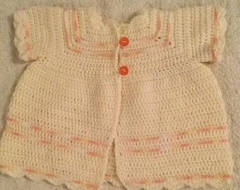 Cream and peach Baby Jacket ,up to 12 mos.