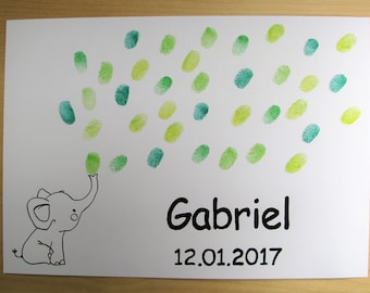 Fringerprints guest book - Elephant - bubbles - birthday - baptism - baby shower - party - thumbprint guest book