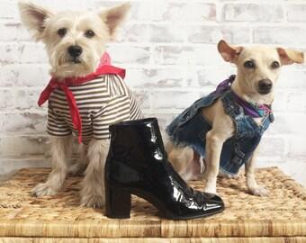 Vintage MOD Patent Leather Jet Black Glossy Ankle Boots    Block Heels    Size 7