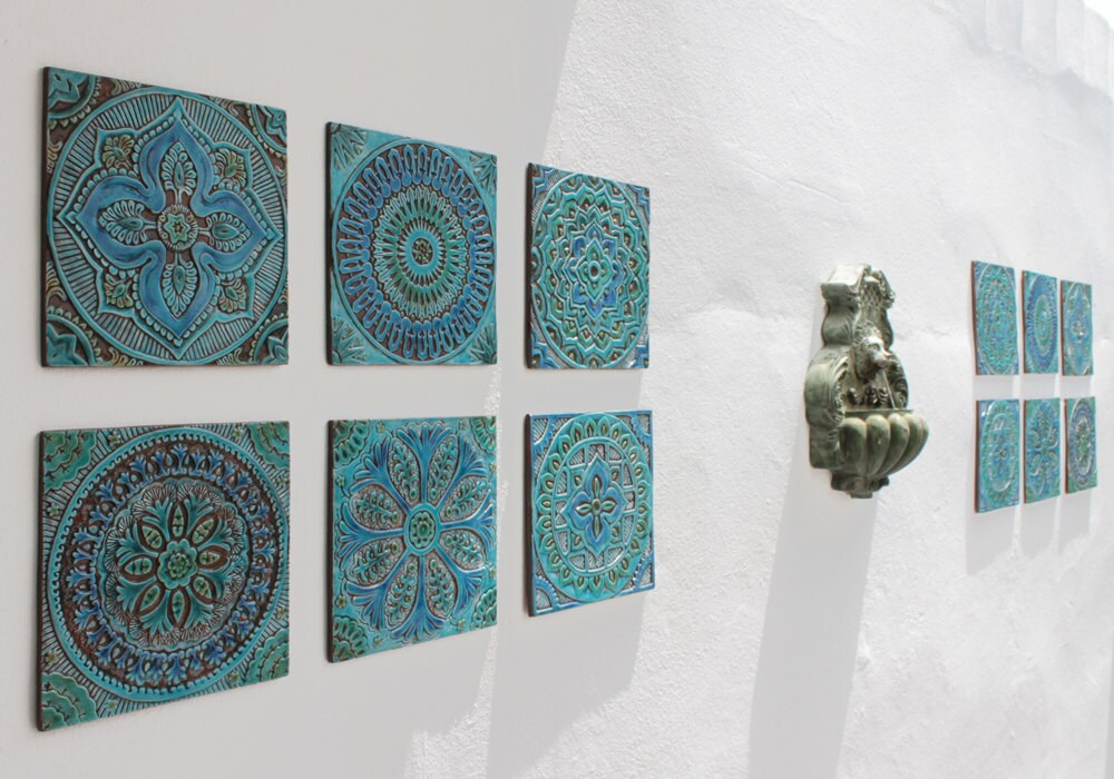 Decorative Ceramic Wall Tiles.  zoom 12 tiles Garden decor with ethnic designs art Ceramic
