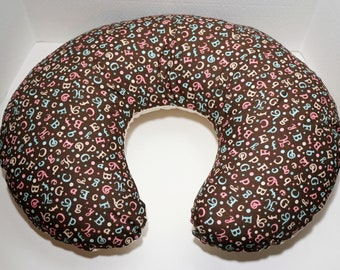 Reversible Boppy Nursing Pillow Cover: Fancy Pink, Blue, and Cream Letters on Brown with Cream & Light Tan Checks