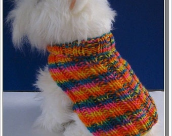 Dog Sweater Knitting pattern Very Easy to Knit Basic Ribbed PDF Celtic Doggie Designs