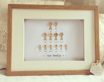 Golden Wedding Anniversary Gift Frame, Oak Box Frame, Gold Frame, Family Tree Frame, Wooden Box Frame, Grandparents Gifts, Grandchildren