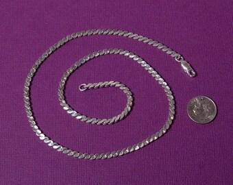 "Vintage Heavy Sterling silver Serpentine chain 18"""