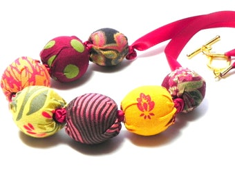 Fabric Necklace - Handmade beads - Warm colors in red, yellow, green, orange and brown - Wedding - Birthday gift idea  - Provence