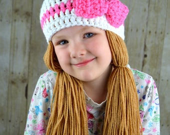 White and Pink Pigtail Beanie- Cabbage Patch Hat- Crocheted Pink Bow Beanie
