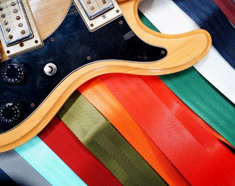 Recycled Seat Belt Guitar Strap - Vegan Eco Friendly Guitar Strap - 8 colors to choose from