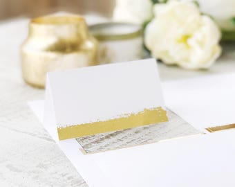 Printable Gold Foil Place Cards, Paint Swash, Perforated Card Stock for Name & Escort Cards | REAL FOIL | Place Card Shape No. 13 | 5 sheets