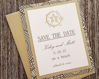 Embossed Gold Starfish Save the Date cards