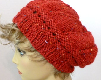 Mans or Womans Hand Knit Star Pattern Slouch HatBeret  Color Deep Red Heather (H-111)