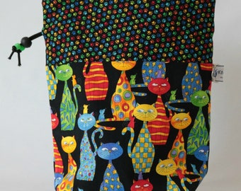 Small drawstring project bag bright cats