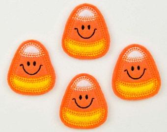 CANDY CORN - Embroidered Felt Embellishments / Appliques - Orange  (Qnty of 4) SCF3000