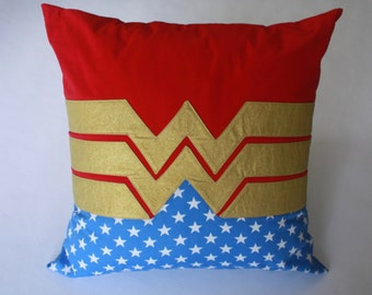Superhero Pillow--Wonder Woman--Wonder Woman nursery pillow-MTO