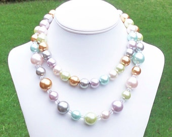 Pastel Pearl Necklace Multicolor Pearl Necklace Colorful Pearl Necklace Double Strand Pearl Necklace Easter Necklace - 14mm to 18mm Round