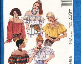McCalls 4897 Gypsy Chic Off Shoulder Tops Pattern Size SMALL