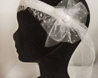 Bridal headband, tulle satin, lace, retro inspiration