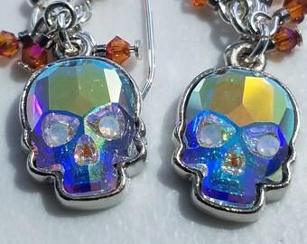 Crystal skulls,  sugar skulls,  Dia De Los Muertos, day of the dead,  skull earrings