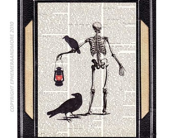 Skeleton Undertaker NECROPOLIS art print wall decor on dictionary book page raven crow halloween spooky horror masacre black anatomical 8x10