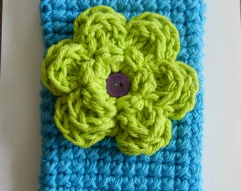 Crocheted Cell Phone Cozy/ Crocheted Lime Green Flower Cell Phone Cozy