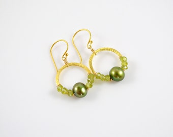 Green Pearl & Peridot Earrings, Green Freshwater Pearls and Peridot Wire Wrapped on Gold Brushed Vermeil Circles, Pearl Earrings, Green Gem