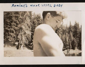 Vintage Snapshot Photo Up Close Side View Man's Huge Upper Body 1940's, Original Found Photo, Vernacular Photography