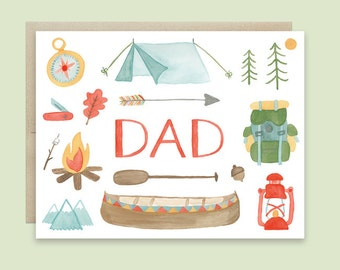 Camping Father's Day Card, Father's Day Card, Happy Fathers Day, Outdoors Father's Day Card, Outdoor Adventure Card, Hiking Fathers Day Card