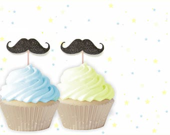 Mustache Cupcake Toppers - Birthday Topper, Boy Birthday Party, Mustache party, Little Man Birthday, Little Man Party, Little Man Cupcakes