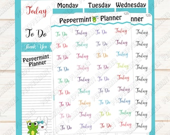 To do, Today, Planner Stickers --- Bullet Journal --- Travelers Notebook --- 125