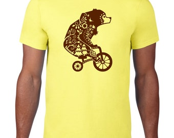 CLEARANCE, Bear On A Bicycle TShirt, Funny Tshirt, Animal Riding Bicycle, Bear T Shirt, Funny T Shirt,  sm-5xl plus size