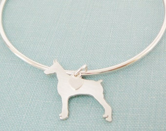 Doberman Pinscher Dog Bangle Bracelet, Sterling Silver Personalize Pendant, Breed Silhouette Charm, Rescue Shelter, Mothers Day Gift