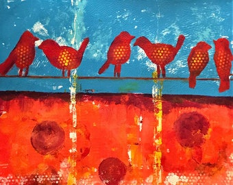 On a Wire - ooak - 20 x 16ins (50 x 40cms) Abstract colour to fill your sense with joy.