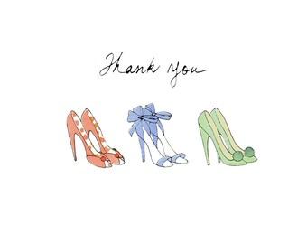 thank you card, pumps thank you card, digital file thank you, printables thank you card, stilettos thank you card, downloadable thank you
