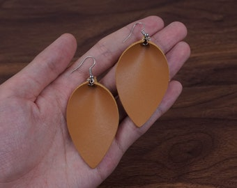 Leather Leaf Earrings Leather Earrings Dangle Earring A Brown