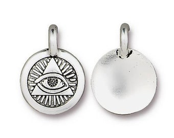 Eye of Providence Charm Yoga Meditation Antique Silver Small Lotus Charm TierraCast Lead Free Pewter 17mm x 12mm 1 pc