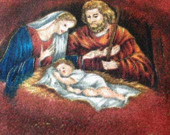 Early Enchantments  by VIP Cranston - Cotton Fabric - Baby Jesus in Manger on Maroon