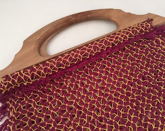 Crocheted Handbag with Large Wooden Handles